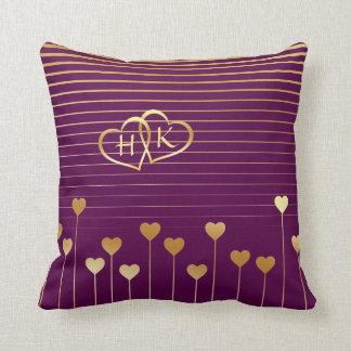 Golden Monogram Heart Pillow