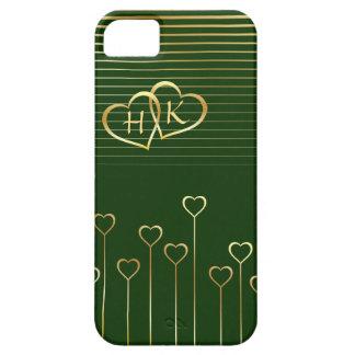 Golden Monogram Hearts Green Valentine iPhone SE/5/5s Case