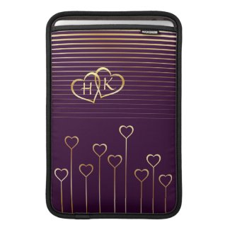 Golden Monogram Hearts Macbook Air Sleeve rickshawsleeve