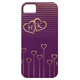 Golden Monogram Hearts Valentine iPhone SE/5/5s Case