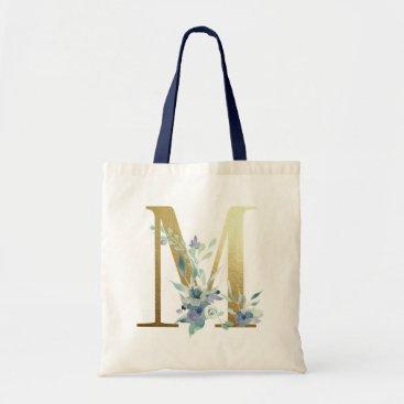 Golden Monogram Letter M Blue Watercolor Flowers Tote Bag
