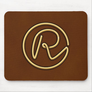 "Golden Monogram ""R"" Mouse Pad"