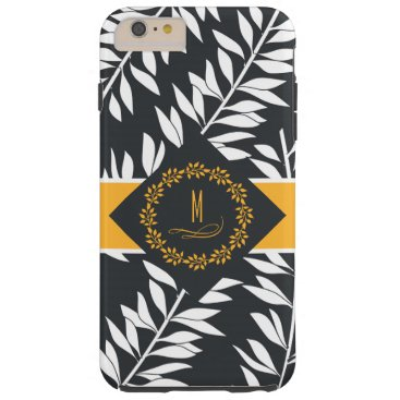 Beach Themed Golden Monogram with Wreath and Leafy Print Tough iPhone 6 Plus Case