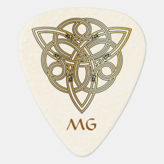 Golden Monogrammed Dragon Headed Tri-Quatra Pick