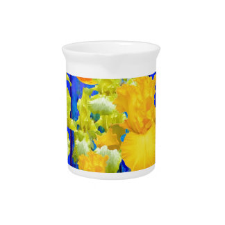 Golden Moon Iris Garden Blue Landscape Beverage Pitcher
