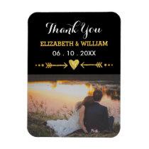 Golden Motif Wedding Magnet Favor Photo Thank You