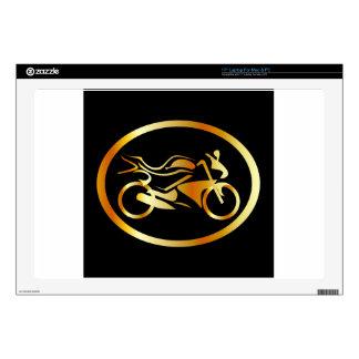 "Golden motorbike decal for 17"" laptop"