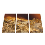 Golden Mountains Motivational Scenery Triptych Stretched Canvas Print