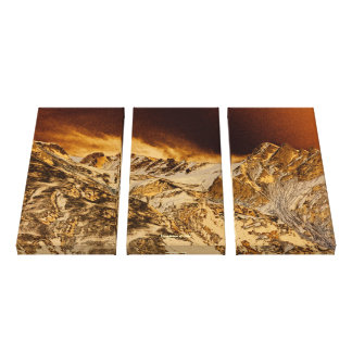 Golden Mountains Motivational Scenery Triptych Canvas Print