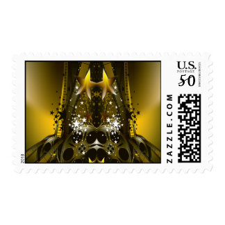 Golden Movie Reels And A Gazillion Stars Postage