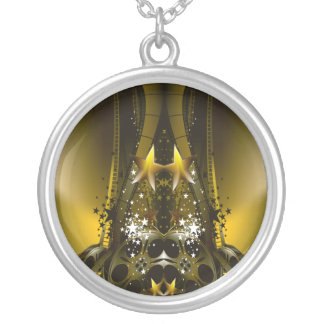 Golden Movie Reels And A Gazillion Stars Silver Plated Necklace