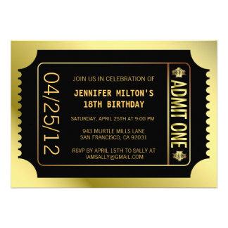 Golden Movie Ticket Invites