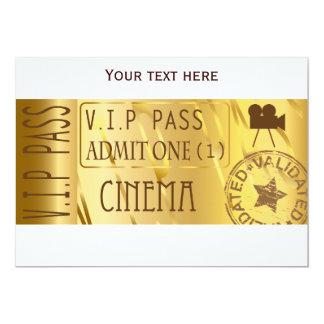 "Golden movie ticket invitations 5"" x 7"" invitation card"