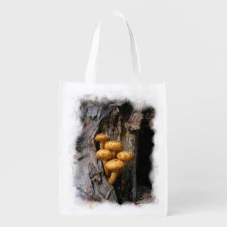 Golden Mushrooms ~ Poly bag Reusable Grocery Bag
