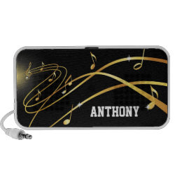 Golden musical flow personalized Doodle speaker, add your own name or text