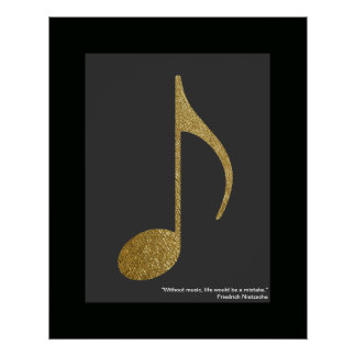 golden music note poster