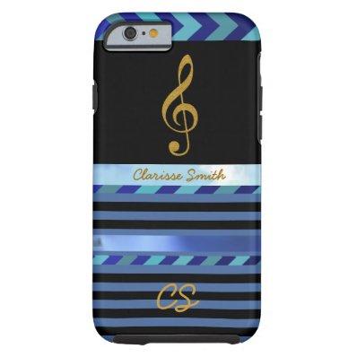 golden music note, stripes & name tough iPhone 6 case