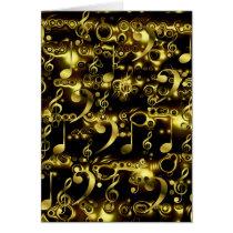 golden music notes pattern