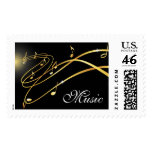 Golden musical flow music postage stamp