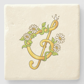 Golden musical note Limestone Coaster