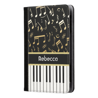 Golden Musical Notes and Piano Keys Kindle Case