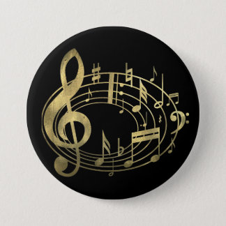 Golden musical notes in oval shape button