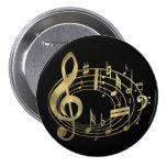 Golden musical notes in oval shape buttons