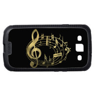 Golden Musical Notes in Oval Shape Samsung Galaxy S3 Cover