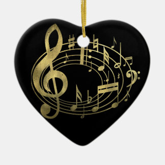Golden musical notes in oval shape ceramic ornament