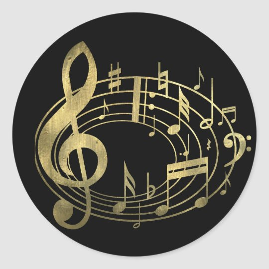 Golden musical notes in oval shape classic round sticker