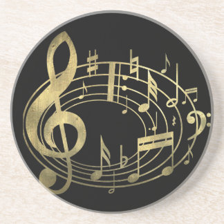 Golden musical notes in oval shape coaster