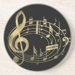 Golden musical notes in oval shape drink coaster