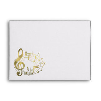 Golden musical notes in oval shape envelope