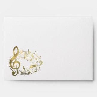 Golden musical notes in oval shape envelope