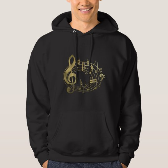 Golden musical notes in oval shape hoodie