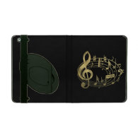 Golden Musical Notes in Oval Shape iPad Folio Case