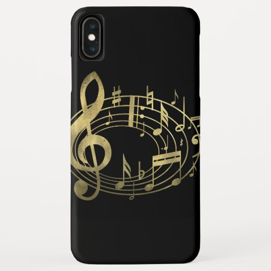 Golden Musical Notes in Oval Shape iPhone XS Max Case