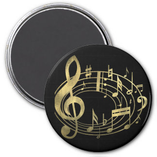 Golden musical notes in oval shape magnets