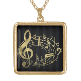 Golden musical notes in oval shape square pendant necklace