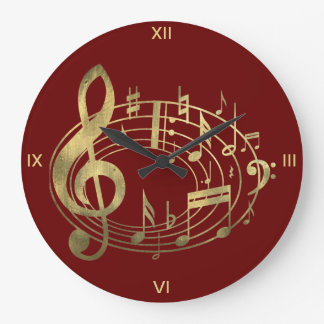 Golden Musical Notes in Oval Shape on Red Large Clock