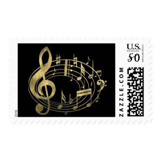Golden musical notes in oval shape postage