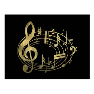 Golden musical notes in oval shape postcard