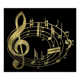 Golden musical notes in oval shape print