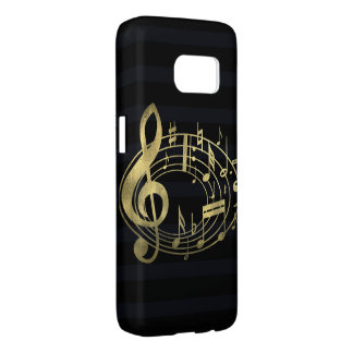 Golden musical notes in oval shape samsung galaxy s7 case