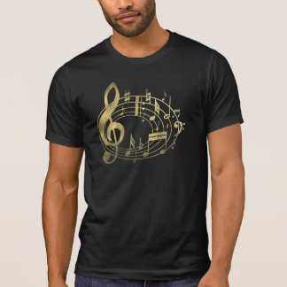 Golden Musical Notes in Oval Shape T-Shirt