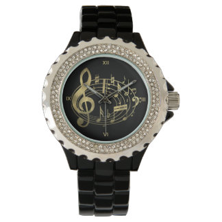 Golden Musical Notes in Oval Shape Wrist Watch