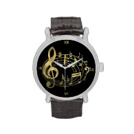 Golden Musical Notes in Oval Shape Wristwatches