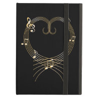 Golden Musical Notes Love Heart iPad Covers