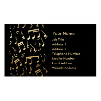 Golden musical notes on Black background Business Card Templates