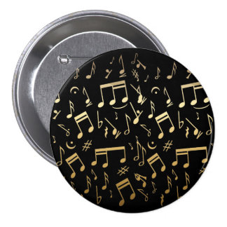 Golden musical notes on Black background Button